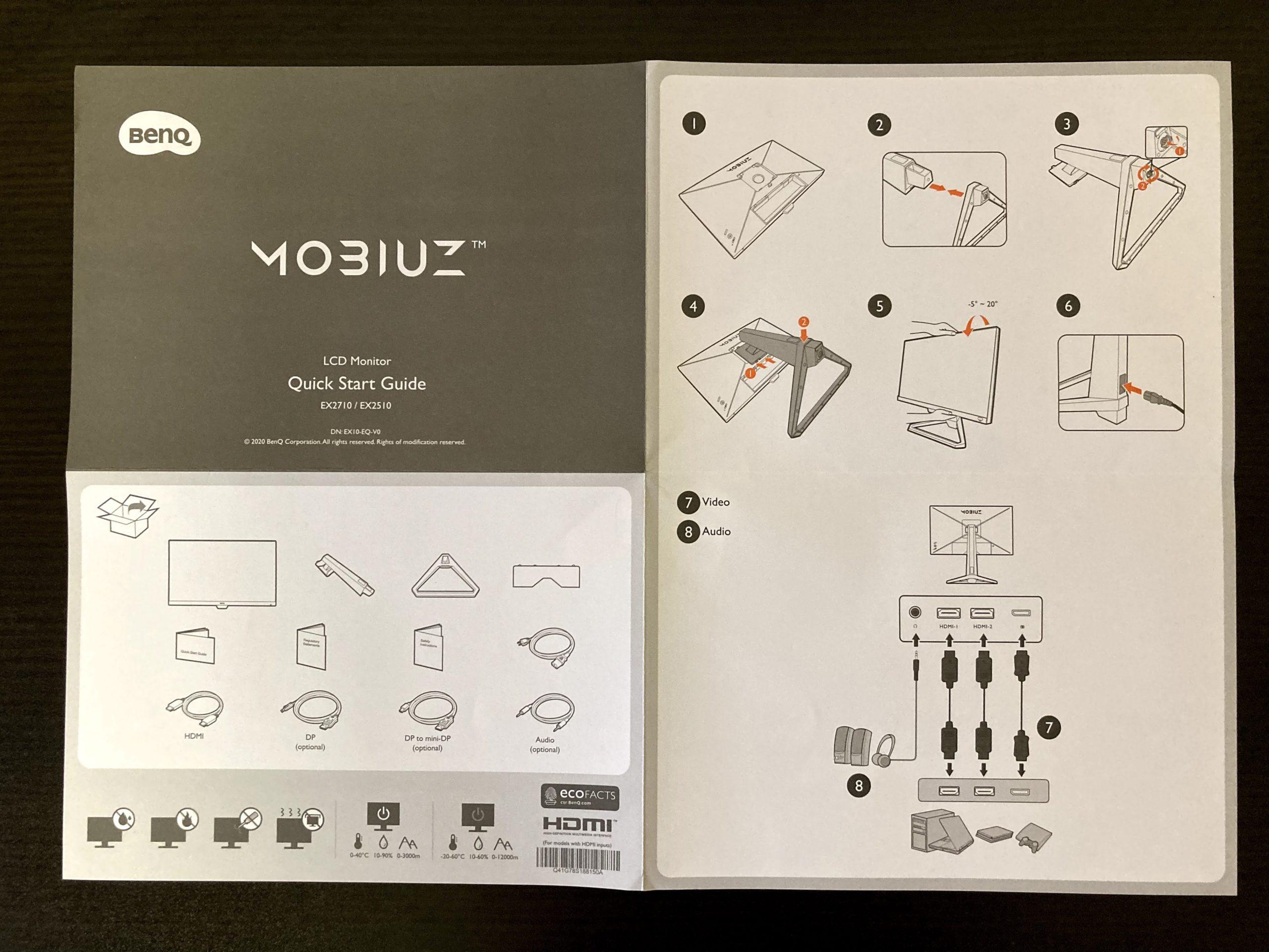 BenQ MOBIUZ EX2510 Quick Start Guide